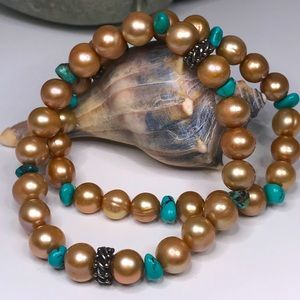Two Freshwater Pearl Turquoise Stretch Bracelets